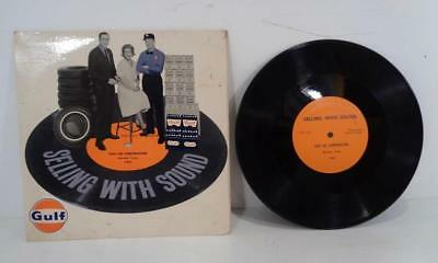 1964 vtg GULF Oil Gas Dealer Salesman Selling With Sound Radio Commercial Record