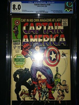 Captain America #100 CGC 8.0 - 1st Issue - Jack Kirby - Black Panther App - 1968