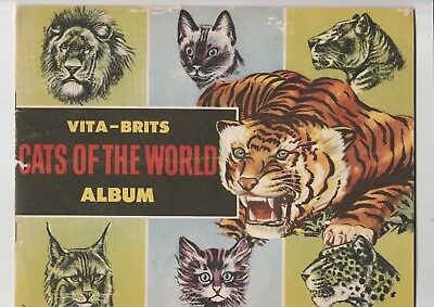 """VITA-BRITS 1950's """"CATS OF THE WORLD"""" CARD ALBUM (plus incomplete set of cards)"""