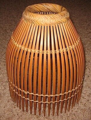 "Philippine Handmade Bamboo Fish Trap (11.5"" tall x bottom 9.75"" top 3.75"") NICE"