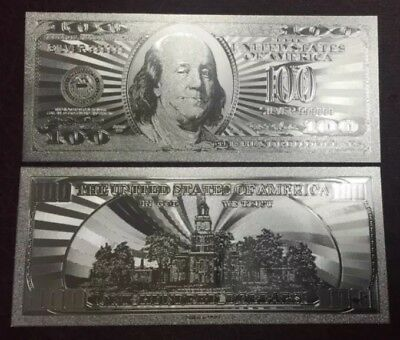 Stunning Detail .999 Silver US Banknote $100 Hundred Dollar Bill  W/ Sleeve