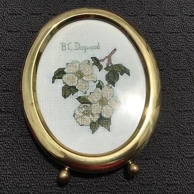 "DOGWOOD ""Blossom Flower"" Embroidered Picture in Gold Brass Frame"