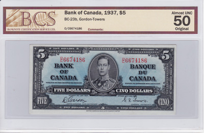 1937 Bank of Canada $5 Issue - Coyne-Towers - BC-21d - Almost Uncirculated AU50