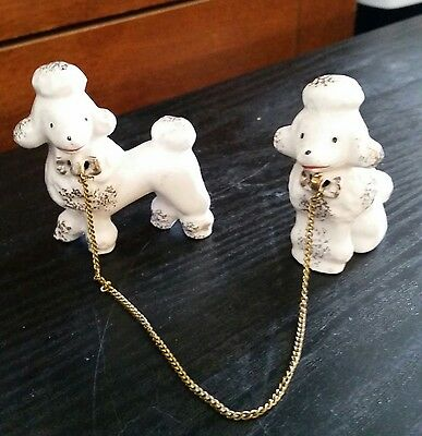 Vintage RETRO mid century white porcelain poodles set with chain - MUST SEE