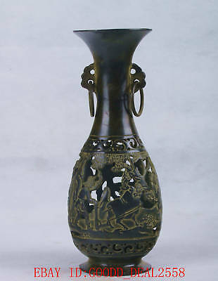 Chinese Bronze Handwork Carved Hollow Vase W Qianlong Mark QT050