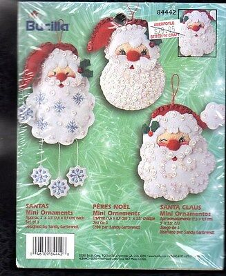 BUCILLA Felt Applique SANTA CLAUS, Felt and Bead Kit, mini ornaments