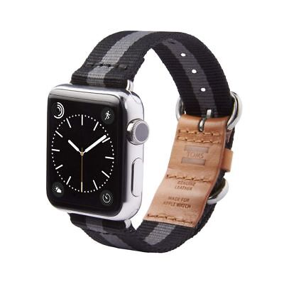 New TOMS Band for Apple Watch 42mm Black-Gray Stripe Genuine Authentic NIB