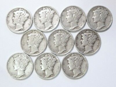 Lot of 10 MERCURY DIMES ~ $1 Face Value 90% SILVER U.S. COINS No Junk FREE SHIP