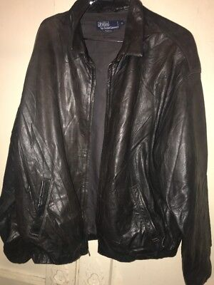 POLO by Ralph Lauren Soft Leather JACKET Mens XL Black zippered NO PONY