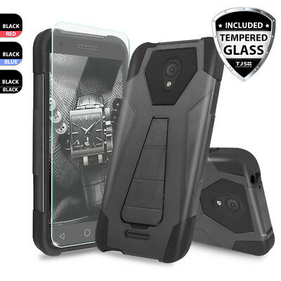 For Alcatel Raven Hybrid Armor Kickstand Phone Case Cover+Tempered Glass Screen