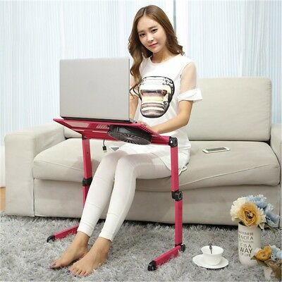 Adjustable Laptop Notebook Stand Desk Table Tray With Cooling Fan & Mouse Pad AU