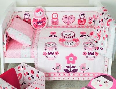 Living Textiles Adele 6 Piece Babushka Doll Baby Girl Cot Set Bedding