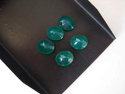 10 Pieces Oval Shaped Green Onyx Cabochons Faceted Flat Back Gemstones - BB236