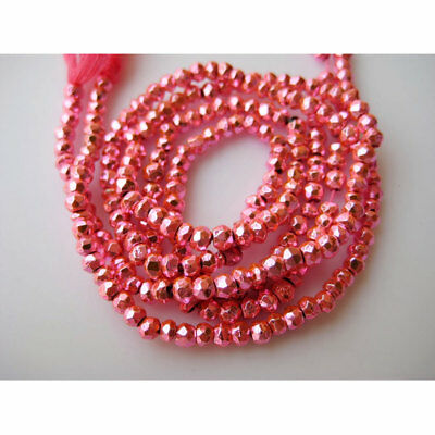 5 Strands Pink Pyrite Coated Micro Faceted Rondelle Beads 3.5mm 14 Inches Each
