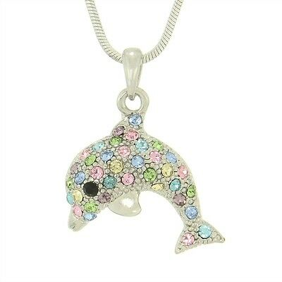 "Dolphin W Swarovski Crystal Multi Color Ocean Beach Sea Marine Pendant 18"" Chain"
