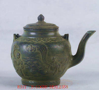 Chinese Bronze Handwork Carvde Eight Immortals Teapot W QianLong Mark QT055