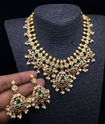 18k Gold Plated Bollywood Style Fashion Pearl Necklace Earring Set South Indian