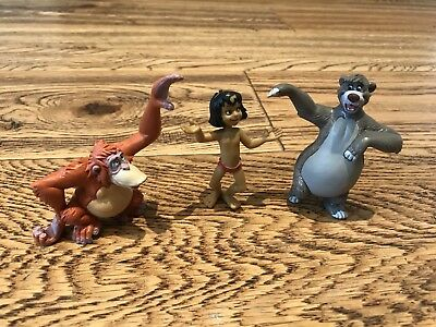 Disney Jungle Book X3 Bullyland Small Plastic Toy Figures Mowgli,baloo & Louis