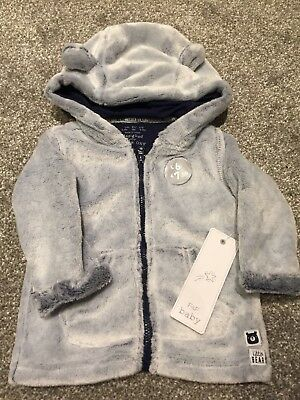 Baby Boys Grey Furry Jacket 6-9 Months F&F