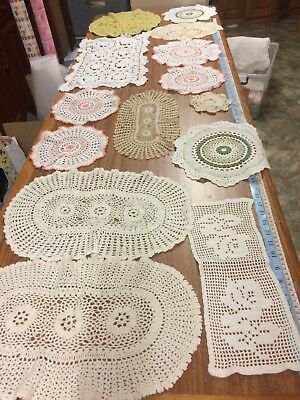 15 x Vintage Crochet Doilies and Traycloths Various Sizes - Good & Cutters LOT#5