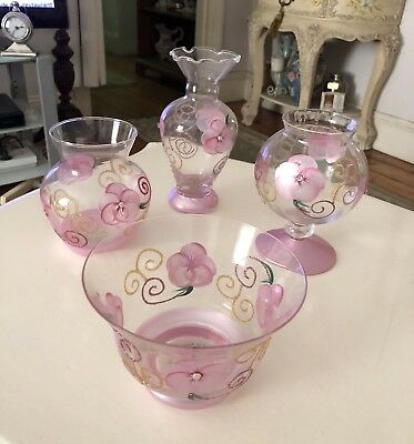 Set Of 4 Hand Painted Glassware With Pink Flowers