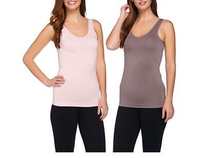 Breezies Set of 2 Reversible Seamless Tanks A269453