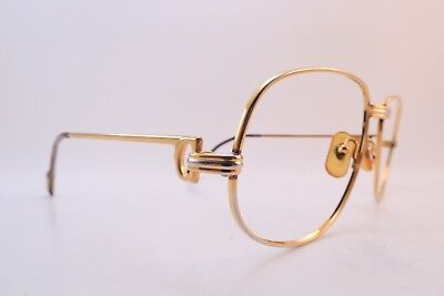 Vintage 24K gold filled eyeglasses frames Cartier Paris ROMANCE 58-18 135 France