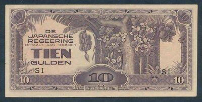 Netherlands Indies: JAPANESE OCCUPATION WWII 1942 10 Gulden. Nice aUNC or better