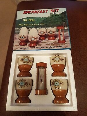 vintage egg cup and timer. ceramic and wood. retro 1970s