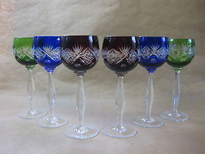 6 Vintage Bohemian Hock Wine Glasses ~ Harlequin ~ Cut to Clear ~ 20 cm Tall