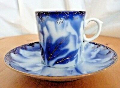 Japanese porcelain blue & white cup & saucer hand painted Peony design