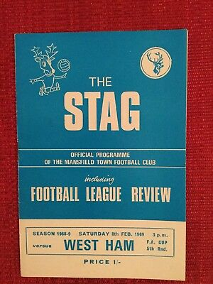 Mansfield v West Ham FA Cup Programme, 1969