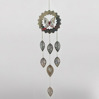 Large Butterfly & Leaf Silver Metal Decor Hanging Home Garden Sun Catcher 24459