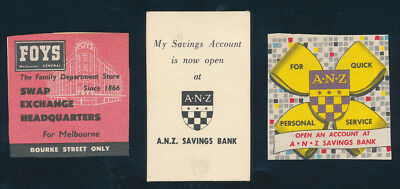Australia: 1960s ANZ Bank & FOYS DEPARTMENT STORE. Lot 3 Advertising Coupons