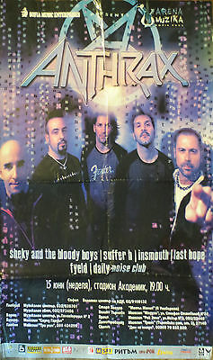 ANTHRAX Large Color Poster Live In Sofia, Bulgaria folded, but complete original