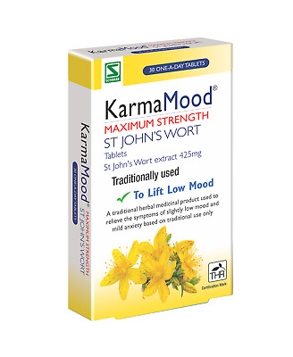 KarmaMood Max Strength St John's Wort Tablets | 60 or 30  Tablets | Free UK P&P