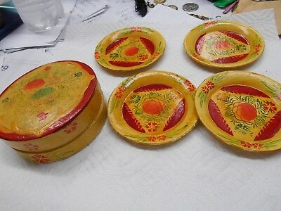 vintage Hand Painted Wooden Round Coasters set of 4 with box