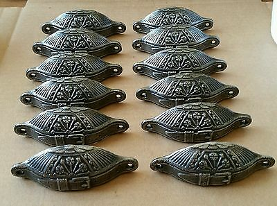 Awesome Set Of 12 Belt Buckle Pattern Victorian Style Bin Pulls,handles