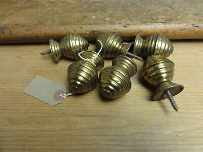 6x Antique Brass Beehive Door Drawer Handles Cupboard Pull Cabinet Knobs Reeded