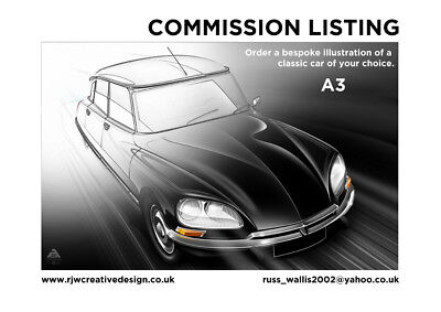 A3 Classic Car Poster Illustration Commission