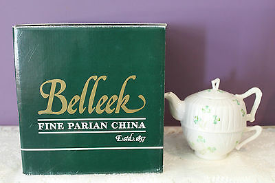 Belleek Ireland Harp Shamrock Tea For One Set Comes In Orignal Box