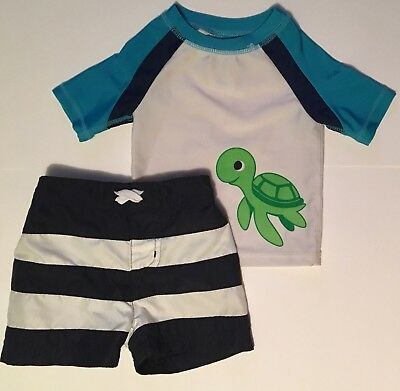 Baby Buns Swim Wear 3-6 Months Rash Gaurd And Trunks Set Navy Turtle Used