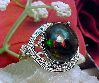 100% Natural Ethiopian Black Opal LARGE 14mm Round & White Topaz Ring 925 SS