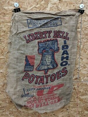 Used Liberty Bell Potatoes Sack,100 lbs,Damaged Burlap Sack,Idaho