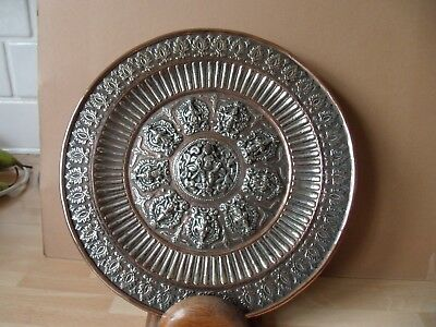 Vintage Indian Silver On Copper Charger,showing Deity Figures