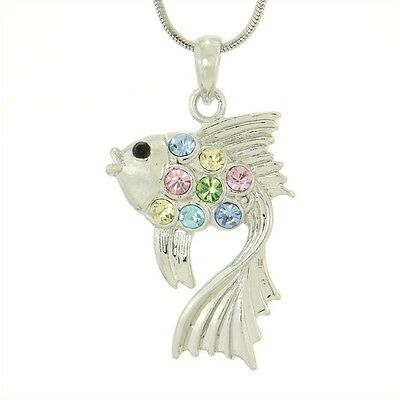 "Fish Butterflyfish Aquarium Sea W Swarovski Crystal New Multi Pendant 18"" Chain"