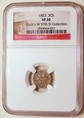 "NGC STACK'S LABEL VF20 1853 SILVER 3 Cent ""Trime""!!  NICE COIN!!"