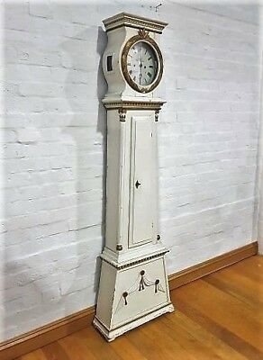 Shabby chic antique painted tall grandfather longcase clock