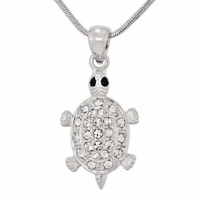 "TURTLE W Swarovski Crystal Clear Pendant Sea Ocean Animal Necklace 18"" Chain"