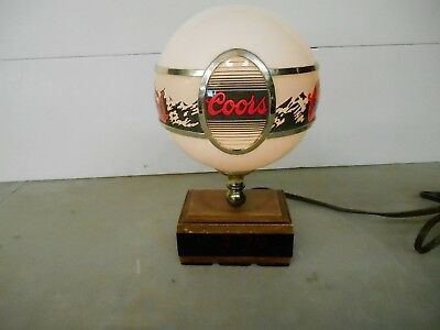 Vintage Coors Bar Light with Clock and Globe Man Cave Decor